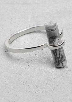& Other Stories, Stone Bar Ring, brass and stone