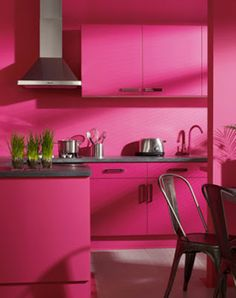 Pink kitchen...too much for my eyes but still very chic
