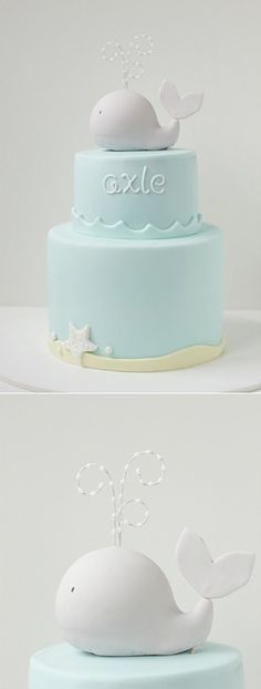 Baby cake....wouldn't this be an adorable cake for a Whale baby shower? So cute! I love the water spray coming out of the whale on top - too much!