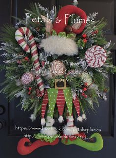 Christmas Wreath -Elf Wreath-Primitive Candy Land Elf by Petals & Plumes