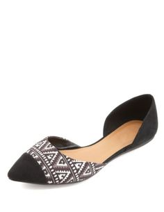 Tribal Print Pointed Cap-Toe D'Orsay Flats: Charlotte Russe
