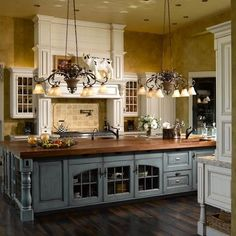 Beautiful French Country Kitchen, except I would want black island cabinet.