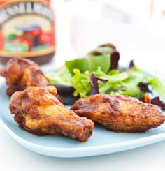 Chipotle Apple Butter Wings by EclecticRecipes.com #recipe