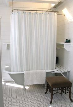 shelves, curtain, bench