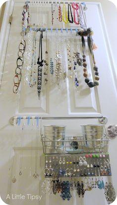 Love this DIY Jewelry Organizer from @Michelle Barneck {A Little Tipsy} jewelri holder, decor, craft, idea, diy jewelry, diy jewelri, organizers, storag, jewelri organ