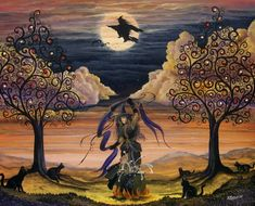 magic tree, halloween witches, folk art, trees, magick tree, dance, halloween art, witch magick, art halloween