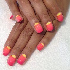 Pink  Yellow Half Moons #mani #nails #nailart