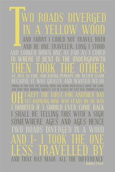 One of my favorite poems of all time. Robert Frost