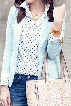 jacket, fashion, polka dots, blazer, blous, outfit, mint, business casual, baby blues