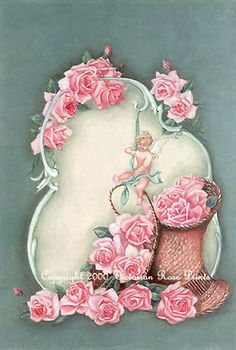 Print FREE SHIP Cupids Pink Roses Basket by VictorianRosePrints, $11.99