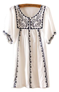 White Puff Sleeve Embroidery Triabl Tunic Dress - Sheinside.com