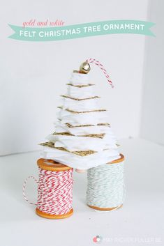Gold and White Felt Christmas Tree Ornament