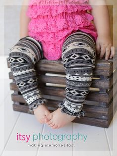 Charcoal and Cream Striped Tribal Patterned Ruffled Baby Leg Warmers