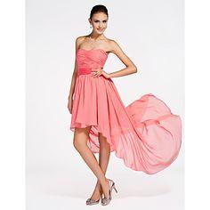 A-line Strapless Asymmetrical Chiffon Bridesmaid Dress – USD $ 97.99