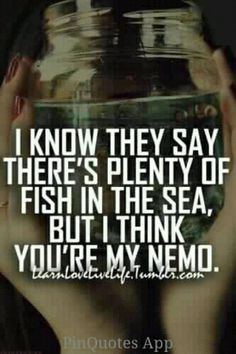 I don't THINK you're my Nemo, I KNOW you're my Nemo! and ill never give up ill look and look till I find u again! I'll always come back to you, even if I move on with someone new eventually! All you have to say is you want to be may partner and it will be!