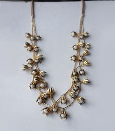 Gold vintage style Lily of the Valley floral necklace