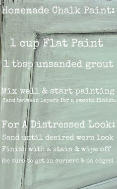 Homemade chalk finish paint - so easy to make, covers in less coats, no priming & no sanding required!!!