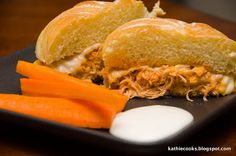 Kathie Cooks...: Buffalo Chicken Sandwiches for the Crockpot