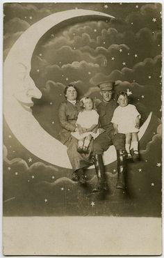 Vintage paper moon postcards