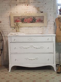 Painted Cottage Chic Shabby White French by paintedcottages, $395.00