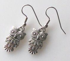 Owl Earrings Antique Silver Bird Earrings on by KriyaDesign, $10.50