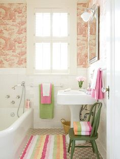 Green, orange, yellow & white - maybe this would work with our 80's mauve bathroom tile?