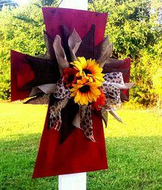 Rustic cross door hanger with burlap and sunflower bow!