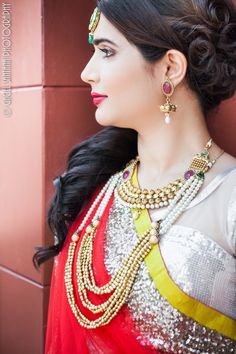 indian wedding double strand necklace and matha patti by Belsi's Collection. Buy here - http://www.indianweddingsite.com/dazzling-jewelry-fashion-shoot-featured-vendor-belsis-collection/