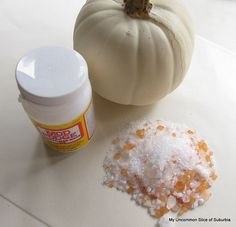 Sparkly Pumpkins Using Bath Salts...Probably do this with candles for Christmas.