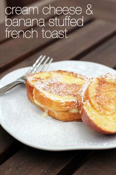 cream cheese and banana stuffed french toast from @AbdulAziz Bukhamseen Week for Dinner #recipe #frenchtoast #creamcheese #banana dinner, bananas, french toast stuffed, stuffed french toast recipe, banana stuffed french toast, banana cream cheese frosting, frenchtoast, stuf french, cream cheese french toast