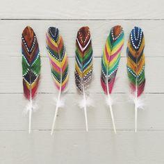 painted goose feathers : Kirsten Rickert goose feathers, diy painted feathers, mobil, goos feather, paint feather, painted feathers diy, kid