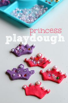 Playdough Tiaras for princess sensory play. Great fine motor work and perfect for princess birthday parties.