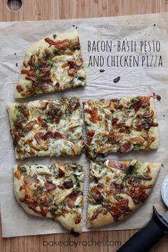 Pesto, chicken and bacon pizza