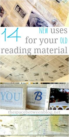 some great ideas for using old maps, newspapers and book pages in fun, eclectic decor