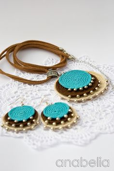 Anabelia Handmade: Boho turquoise crochet pendant and earrings pendants, necklac, turquois crochet, boho turquois, anabelia handmad, crochet pendant, handmade crafts, craft jewelry, earrings