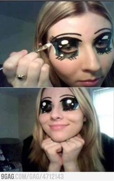 makeup eyes, paint idea, eye makeup, googly eyes, big eyes