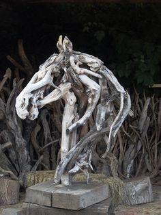 Heather Jansch Sculptor Bronze & Driftwood Horse Sculpture
