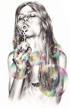 Digital art pencil, art illustrations, drawings, portrait art, marynn, graphic designers, digital art, soap bubbles, blowing bubbles