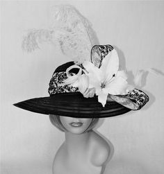black and white kentucky derby hat