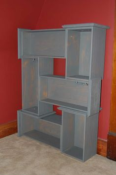 Reuse dresser drawers for a book shelf--Nail together, paint a pretty color, paper the insides and voila!