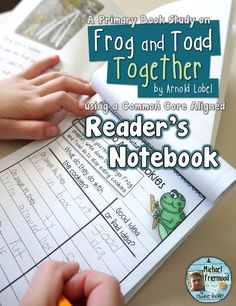 """A reader's notebook book study for """"Frog and Toad Together,"""" by Arnold Lobel. For grades 1-2 ($)"""