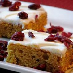 "Colonial Pumpkin Bars | ""OMG, this is FAB-U-LOUS!!!!!! I added whole cranberries to this and frosted it with cream cheese frosting and YUMMMMMMMY!"""
