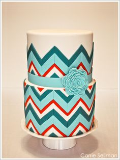 Cute cake chevron patterns, decorations cupcakes, red and turquoise cake, cakes chevron, teal birthday cake, color cake, chevron cakes, birthday cakes, birthday cake chevron
