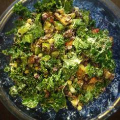 creamy kale salad. Recipe by @Ricki Wells Heller  #kale #salad http://instagram.com/p/k8B1KGmZo-/