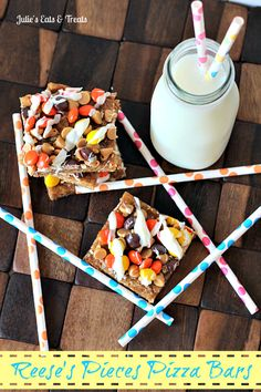 Reese's Piece Pizza Bars ~ Gooey Oatmeal Crust layered with caramel then topped with Reese's Pieces!