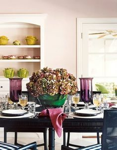 dining rooms, pink dine, interior, dine room, centerpiec, bedroom office, pale pink, paint colors, dining tables