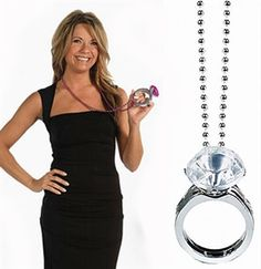 Bridal Shower Fun - Do you think this ring will be Big enough? Giant Bling Ring Party Bead Necklace - $3.89 bachelorette parties, parti bead, the bride, beads, bridal shower, the bachelorette, bachelorett parti, engagement rings, bead necklaces