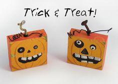 DIY Halloween pumpkin trick or treat magnets