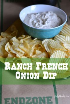 Ranch French Onion Dip - Easy and great for the Big Game!  1 tablespoon finely cut chives   1/2 packet of french onion soup mix   1/2 packet of ranch dressing mix (powdered kind in the salad dressing isle)   16oz container of sour cream   chips for dipping