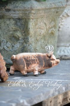 Vintage Advertising Pig Bank Cast Iron by edithandevelyn on Etsy